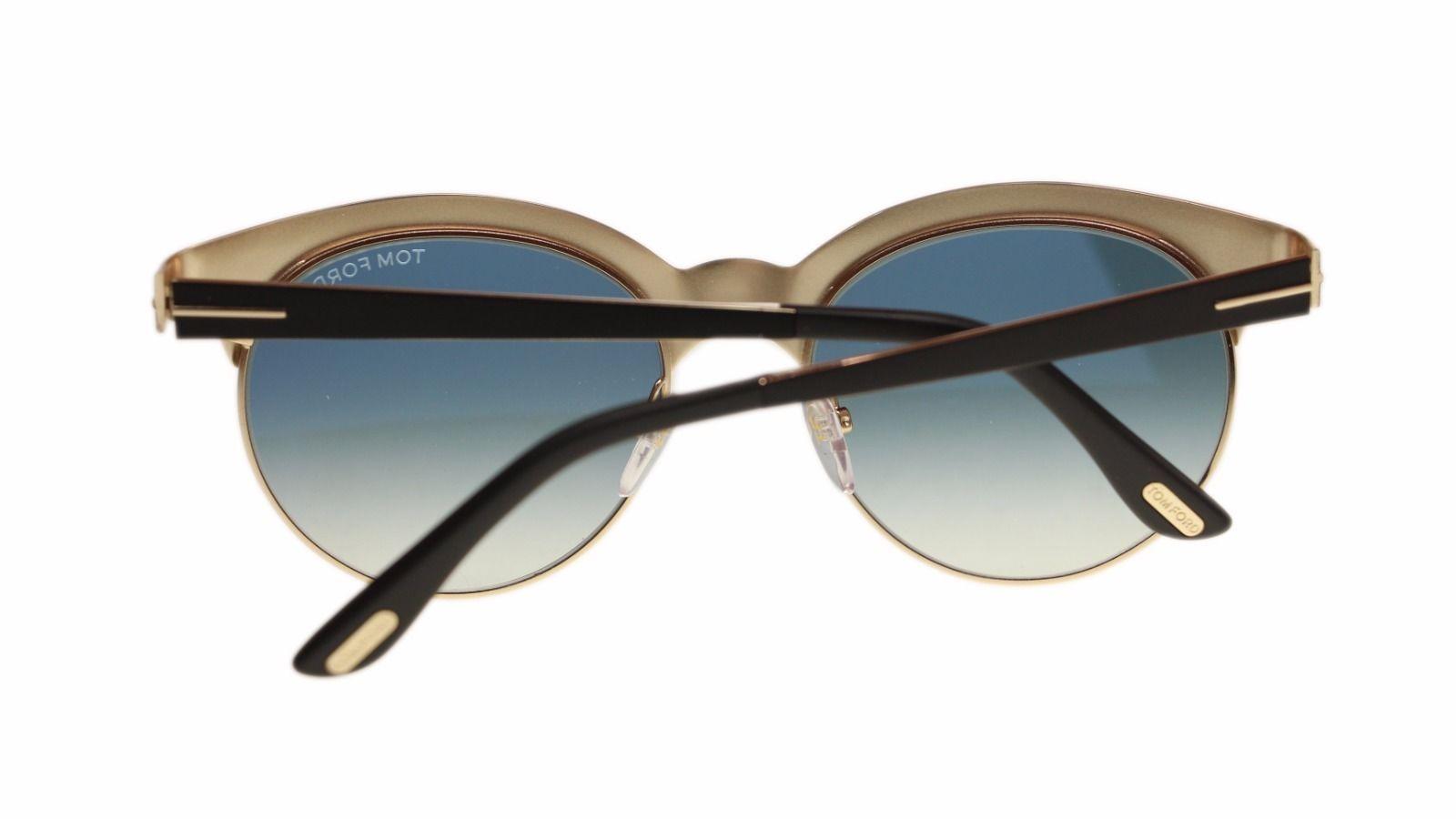 Tom Ford Angela Women's Sunglasses FT0438 05P Black Gold/Blue Grey Round 53mm