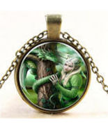 GIRL WITH DRAGON CABOCHON PENDANT NECKLACE.....  C/S & H AVAILABLE  - $2.50