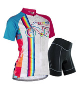 Womens Cycling Bike Bicycle Short Sleeve Breathable Jersey&Shorts Set 3D... - $25.89