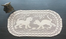 Beige Oval Filet Crochet Doily/Brown Vintage Design Filet Crochet Runner - $30.00