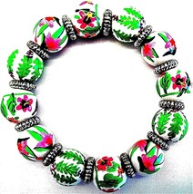 ANGELA MOORE GREEN PINK WHITE BRACELET WITH TREES & FLOWERS SILVER SPACE... - $33.65