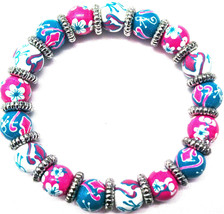 ANGELA MOORE TEAL BLUE PINK WHITE PETITE BRACELET WITH FLOWERS & BUTTERF... - $32.66