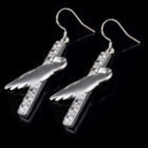 BEAUTIFUL RHINESTONE SILVER PLATED DANGLE EARRINGS COMBINE SHIPPING  - $2.50