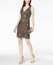 Adrianna Papell Dress Short Sleeveless V-Neck Sequins Lead Beaded Womens... - $123.26