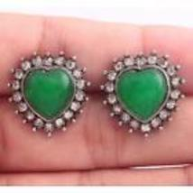 Emerald And Zircon Heart Shaped Silver Plated Studs ......Combined Shipping  - $2.99