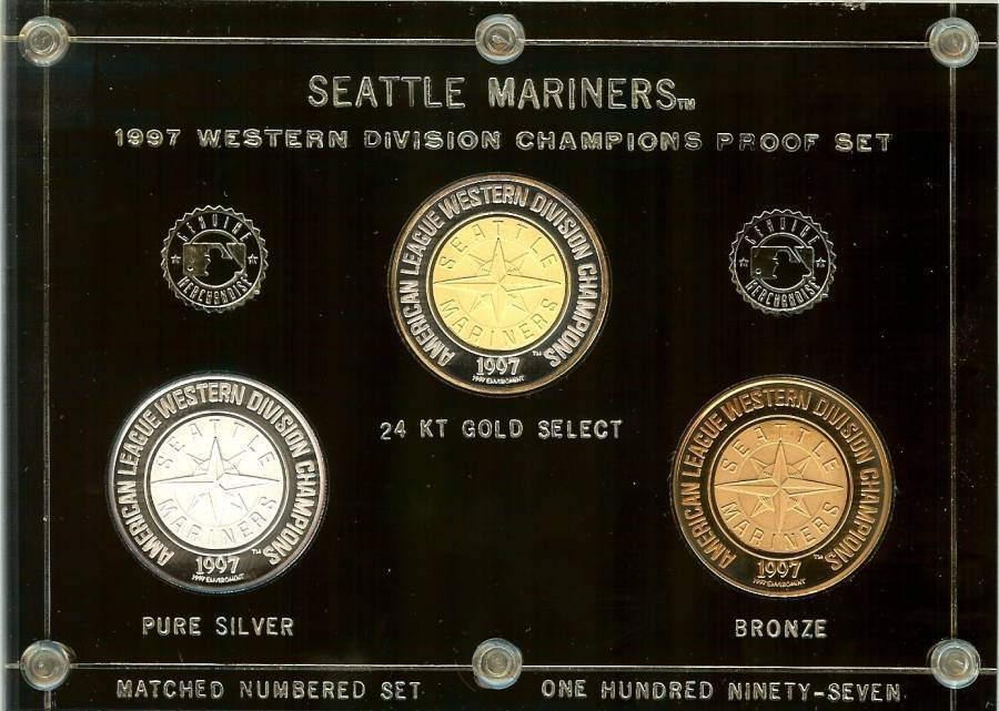 seattle mariners 1997 proof set champions silver rounds serial 120 rare baseball