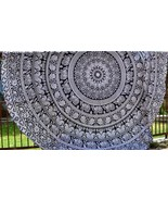 Black and White Large Round Mandala Beach Throw Roundie Yoga Mat Table Cover ... - $25.00