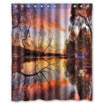 River Sunset Sky Tree #01  Shower Curtain Waterproof Made From Polyester - $31.26+