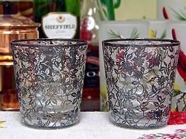 Vintage Silver Trim Floral And Leaf Design Lowball Glasses Set Of Two - $19.80