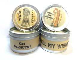 Combo - 8oz Smell My Wiener and 8oz Got peaNUTS Soy Candle Tins - Great ... - €14,98 EUR