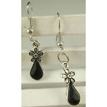 FLOWER BLACK GEM DANGLE EARRINGS        C/S & H AVAILABLE - $2.50