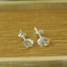 925 Silver Plated Peace Clear Crystal Ear Studs       Combined Shipping  - $1.99