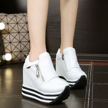 pa014 high & thick wedge swing shoes in stripe color sole,size 34-39, white - $39.90