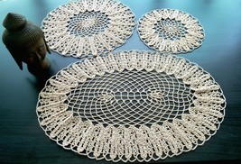 Beige Set of Round and Oval Crochet Doilies - $30.00