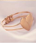 Gold Plated Heart Cuff Bangle Bracelet - $3.99