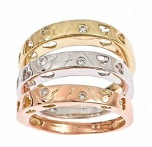 Tri-Color Stackable Diamond Wedding Band Rings Set Heart Design 14k Gold - £317.06 GBP