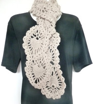 Beige Crochet Scarf With Pineapple Design/Brown Crochet Lace Neckwarmer - $28.00