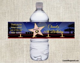 Hollywood Star Birthday Party Favors Water Bottle Labels Personalized Cu... - $3.96+