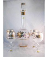 Vintage Czech Bohemian Crystal Gold Leaf Froste... - $35.00