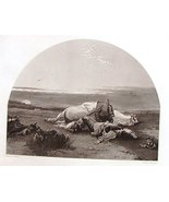 The Soldiers Death Bed Ornaments of Memory Steel Engraving 1854 J W Glass - $16.00