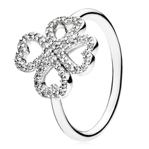 925 Sterling Silver Petals of Love Ring with Clear Zirconia QJCB835 - $23.98