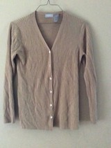 LIZ CLAIBORNE Beige Silk Button Front Ribbed Cardigan Sweater Sz M - $16.44