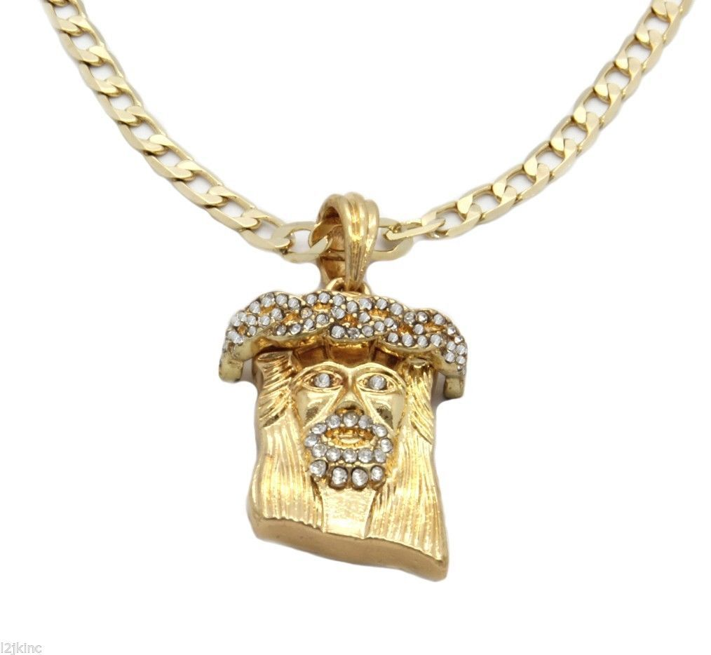 Gold Silver Plated Jesus Charm Micro Pendant 4mm Cuban Chain Necklace set of 2
