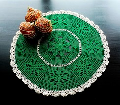 Green Round Christmas Crochet Doily With Snowflakes and Gold Edging - $26.00