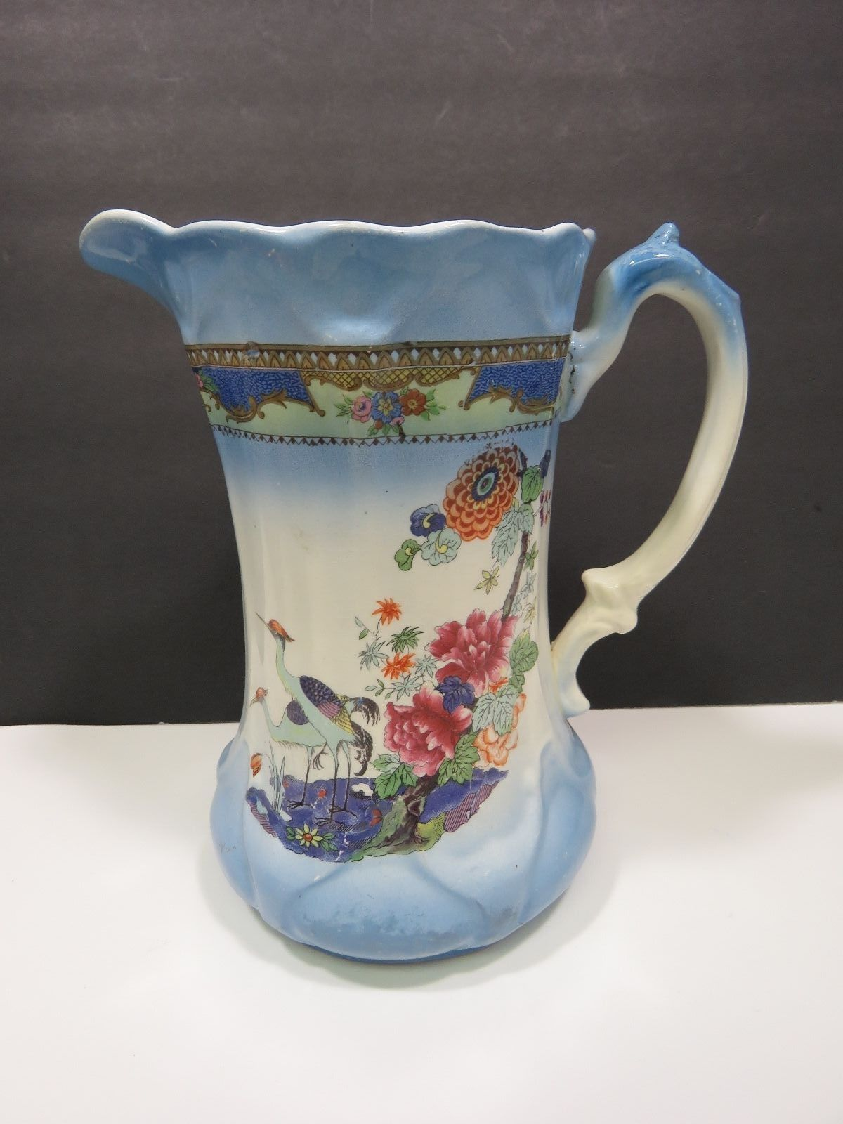 Primary image for Large Vintage Transferware Pitcher Shabby Victorian Blue Crane Birds Asian