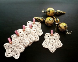 Beige Christmas Star Crochet Coasters/ Beige Crochet Mini Doilies/Set of... - $24.00