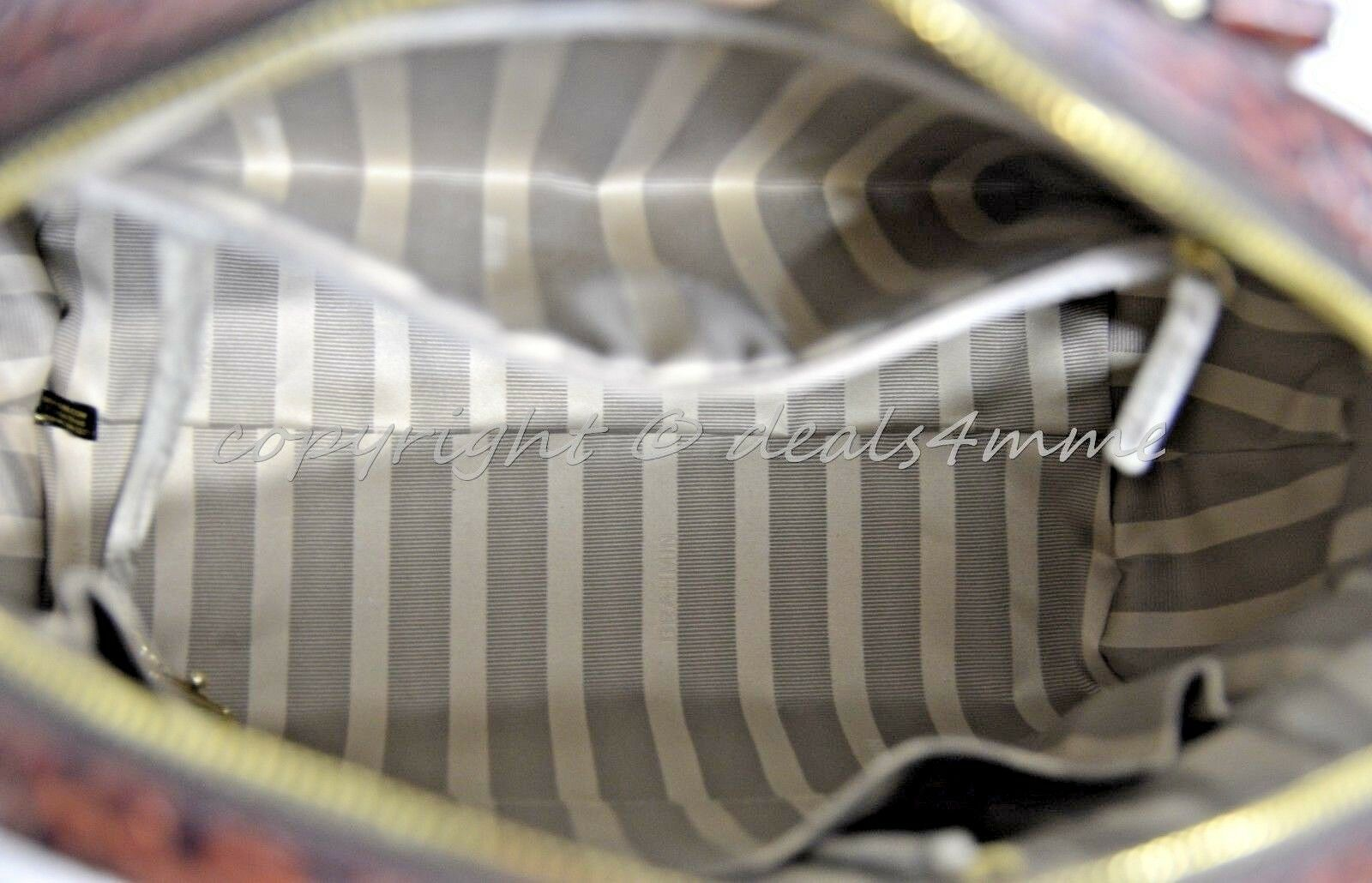 NWT Brahmin Hudson Satchel/Shoulder Bag in Linen Tri-Texture Beige, Pecan & Teal image 5