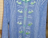 STORYBOOK SWEATER CARDIGAN BLUE WHITE WITH GREEN WALES PEARL ACCENT M