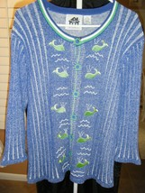 Storybook Sweater Cardigan Blue White With Green Wales Pearl Accent M - $41.39