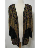 Vintage 100% Silk Kushi India Heavy Black & Gol... - $359.99
