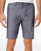 "New Mens Tommy Hilfiger Flat Front 9"" Chambray Cotton Chino Shorts 34 - $24.74"