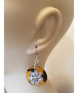 spider web circle earrings orange black metal acryic handmade goth jewelry - $2.99