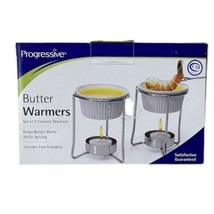 Progressive Butter Warmers Set of 2 in Each Box Ceramic White with Teali... - $13.10
