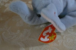 "Rare Ty Original Beanie Babies "" Peanut "" The Lt Blue Elephant/Retired MWMT Erro image 2"