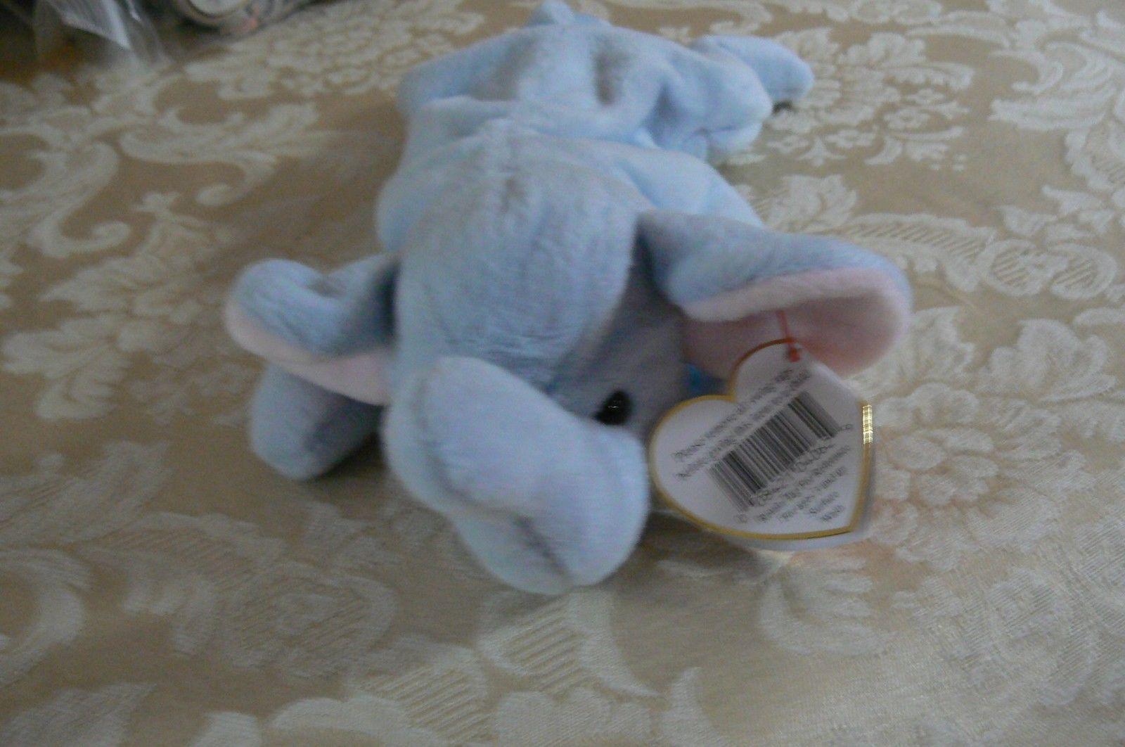 "Rare Ty Original Beanie Babies "" Peanut "" The Lt Blue Elephant/Retired MWMT Erro image 3"