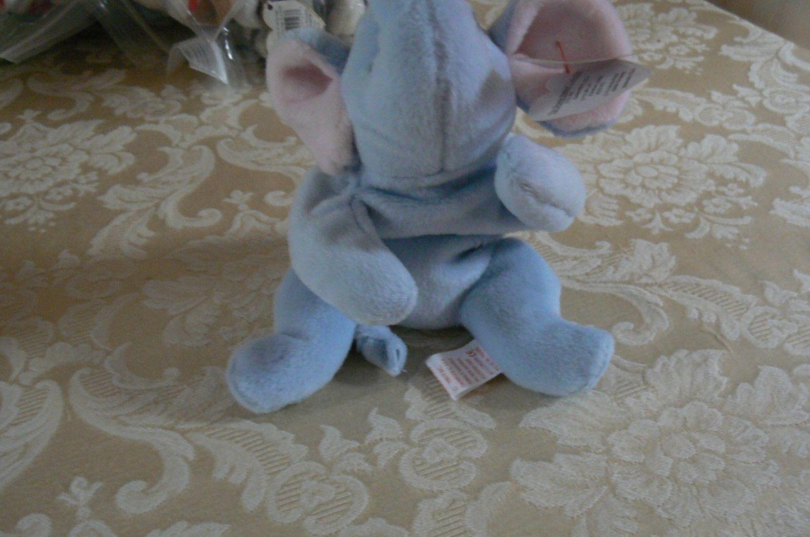"Rare Ty Original Beanie Babies "" Peanut "" The Lt Blue Elephant/Retired MWMT Erro image 4"