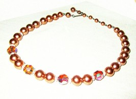 """Vintage Champagne Pink Glass Pearls & Crystal Bead Choker Necklace 14-15"""" - $9.95"""