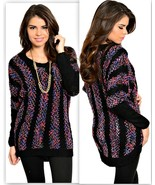 Black Coral Lilac Sweater S L Roomy - $12.99
