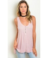 Dusty Pink Ribbed Stretch Top by Shop the Trend S M L - $11.64