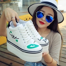 pa017 high & thick wedge sport shoes w blue lips printed,size 35-39, white/blue - $39.90