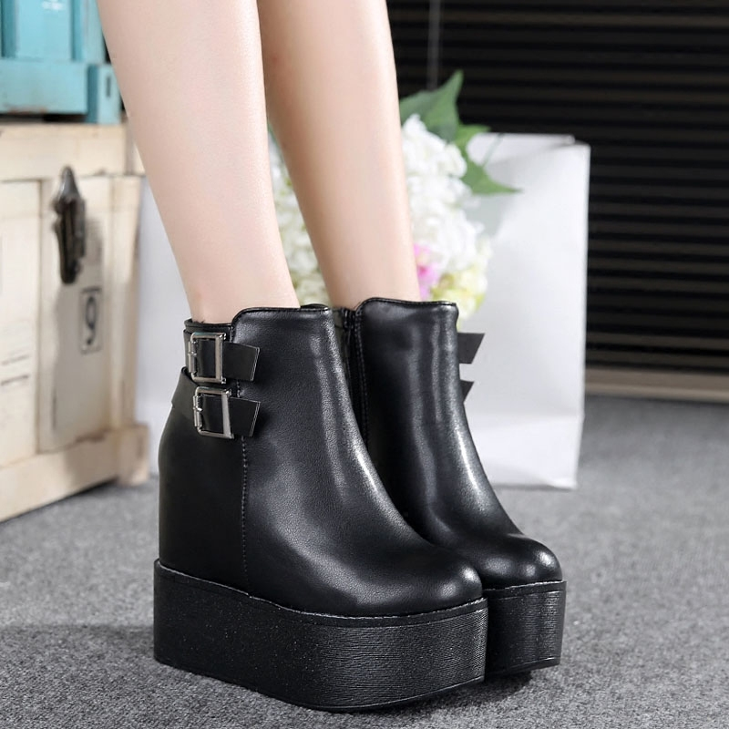 Primary image for pa018 high & thick wedge Martin booties w heels inside,size 35-39, black
