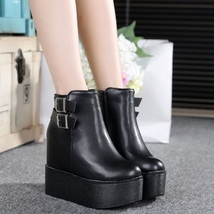 pa018 high & thick wedge Martin booties w heels inside,size 35-39, black - $48.80
