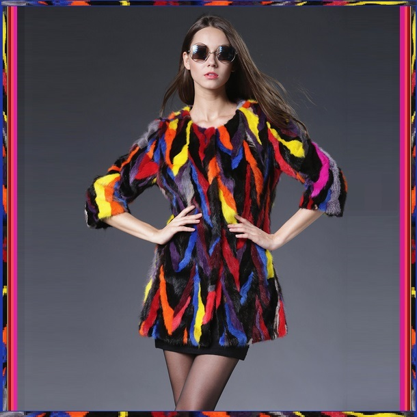 Genuine Luxury Multi Colored Dyed Strips of Mink Fur Three Quarter Sleeve Coat