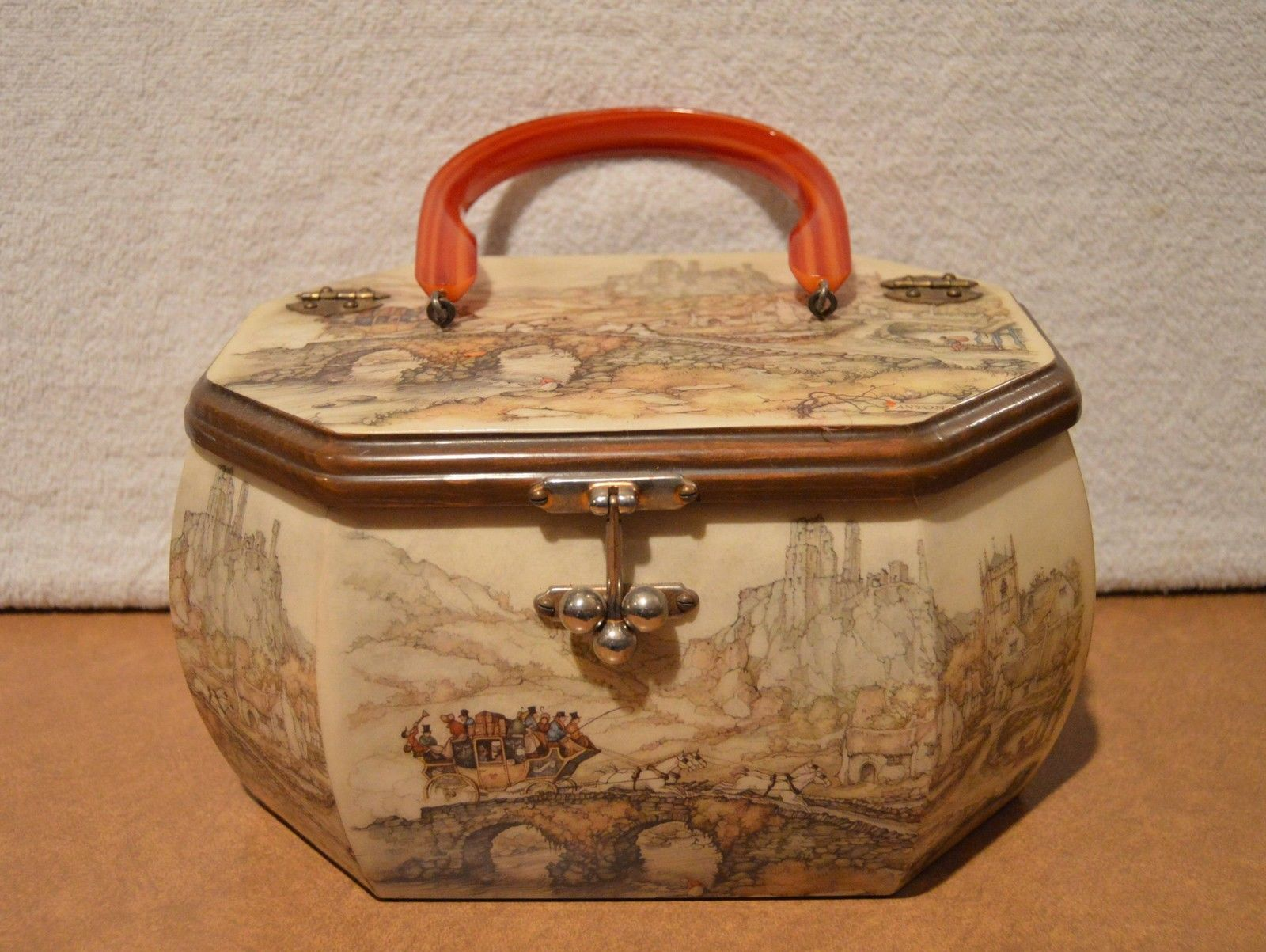 Vintage Anton Pieck Wood Box Purse Decoupage Art Print