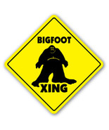 BIGFOOT CROSSING Sign sasquatch big foot print monster fantasy big foot ... - $7.90