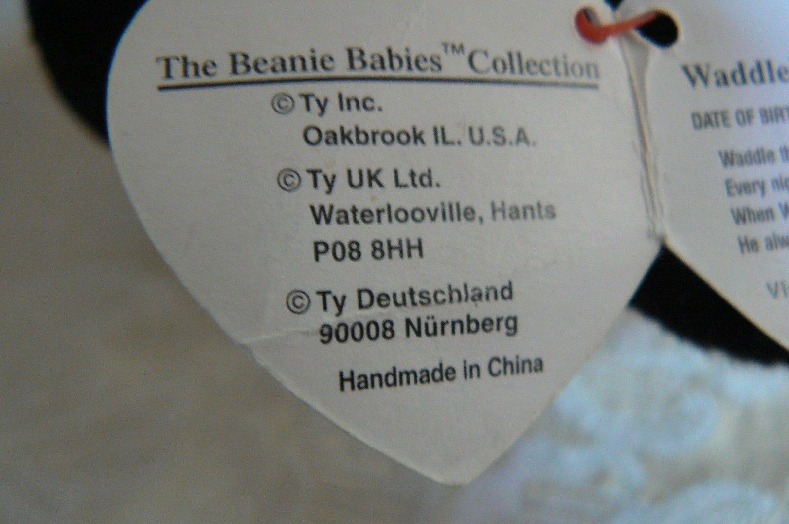 "Rare TY Original Beanie Babies "" Waddle "" The Pengun Errors- #4075-Retired-Error"